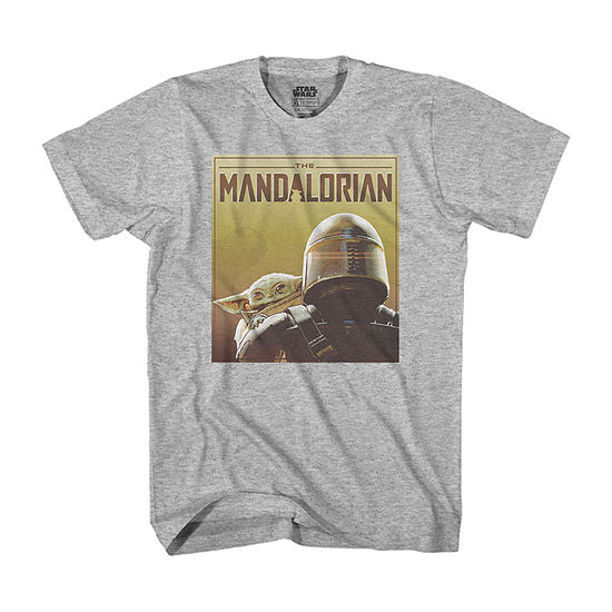 The Mandalorian The Child Mens Crew Neck Short Sleeve Star Wars Graphic Big and Tall T-Shirt