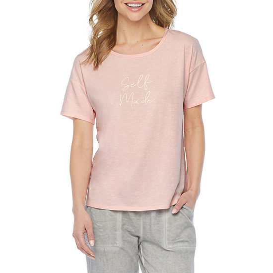 Ambrielle Layering Womens Pajama Top Round Neck