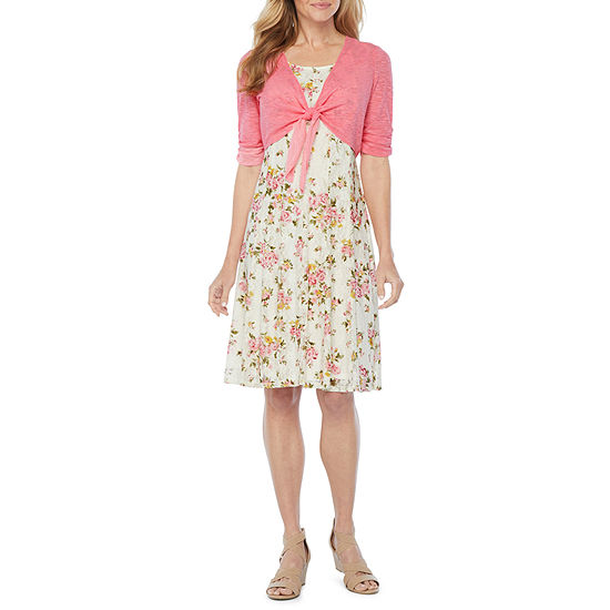Perceptions 3/4 Sleeve Floral Lace Jacket Dress