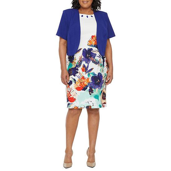 Maya Brooke-Plus Short Sleeve Embellished Jacket Dress