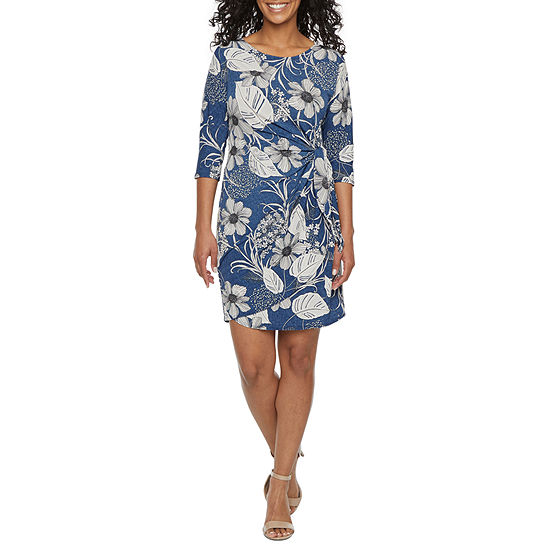 Robbie Bee-Petite 3/4 Sleeve Floral Puff Print Sheath Dress
