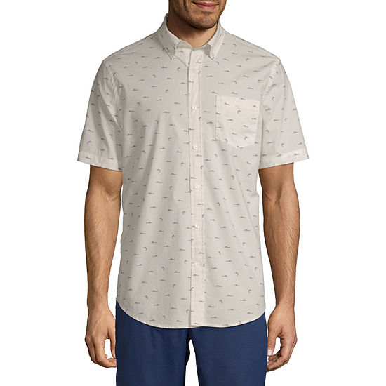 St. John's Bay Stretch Mens Short Sleeve Button-Down Shirt