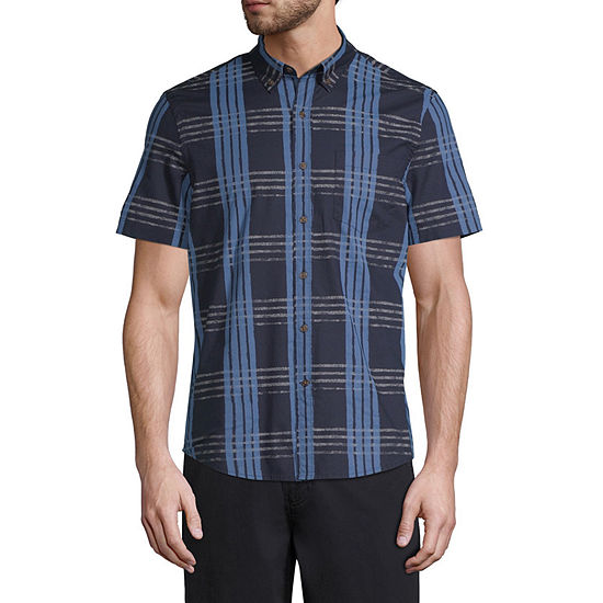 St. John's Bay No Tuck Mens Short Sleeve Plaid Button-Front Shirt