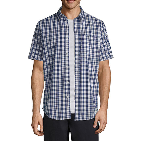 St. John's Bay Stretch Mens Short Sleeve Checked Button-Front Shirt