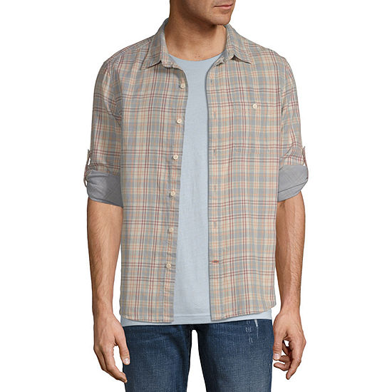 St. John's Bay Outdoor Double Cloth Mens Long Sleeve Plaid Button-Down Shirt
