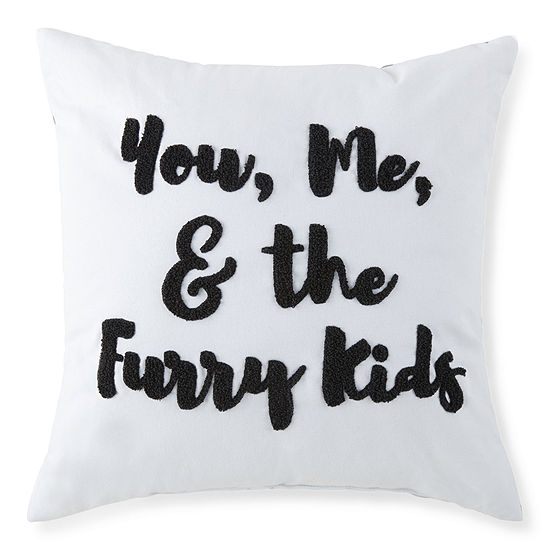 "Paw And Tail ""You, Me, & the Furry Kids"" Decorative Pillow"