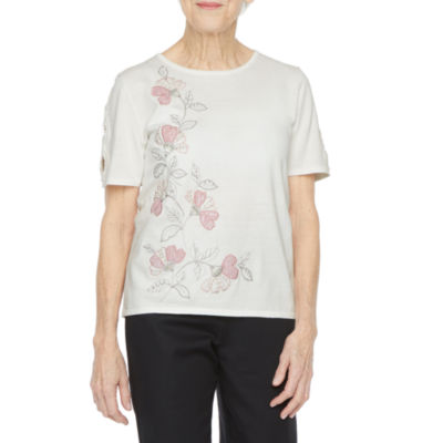 Alfred Dunner Womens Round Neck Short Sleeve Floral Layered Sweaters-Petite