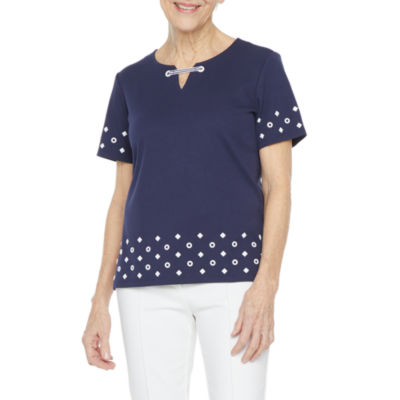 Alfred Dunner Petite-Womens Round Neck Short Sleeve T-Shirt