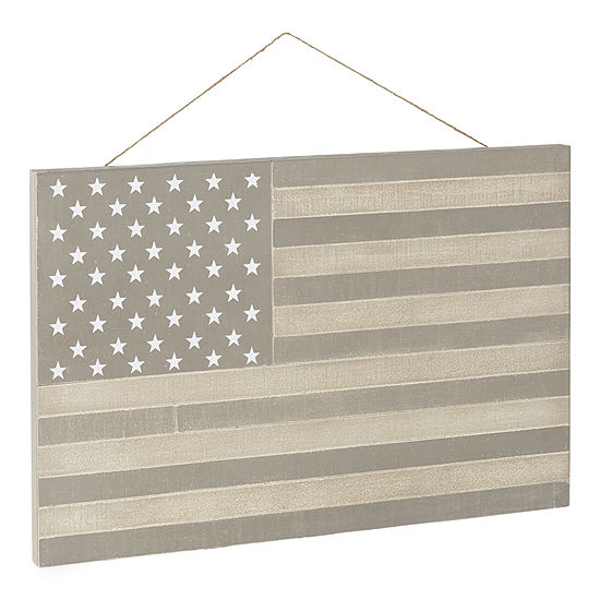 JCPenney Home Wood Flag Americana Metal Wall Art