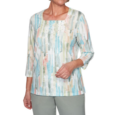 Alfred Dunner Chesapeake Bay-Womens Square Neck 3/4 Sleeve T-Shirt