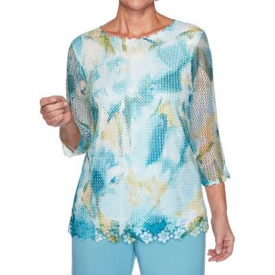 Alfred Dunner Chesapeake Bay-Womens Round Neck 3/4 Sleeve T-Shirt