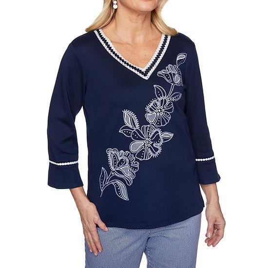 Alfred Dunner Easy Street -Womens V Neck 3/4 Sleeve T-Shirt
