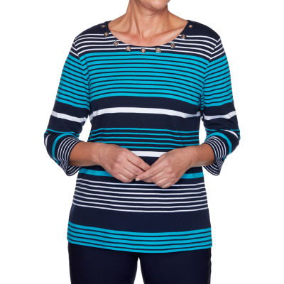 Alfred Dunner Easy Street Womens Round Neck 3/4 Sleeve T-Shirt