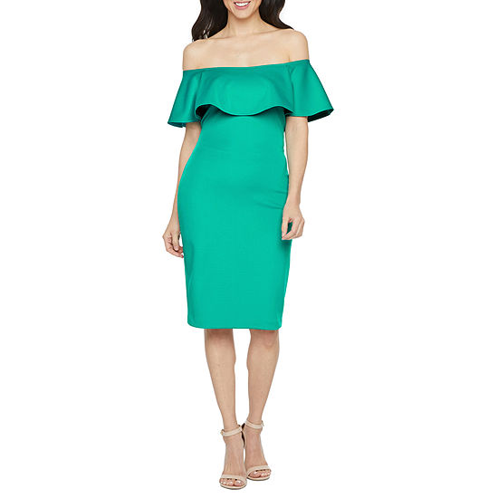 Bold Elements Off The Shoulder Bodycon Dress