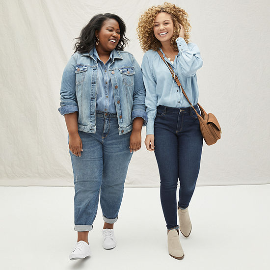 a.n.a Two Denim Looks featuring Boyfriend Jeans and a Denim Jacket