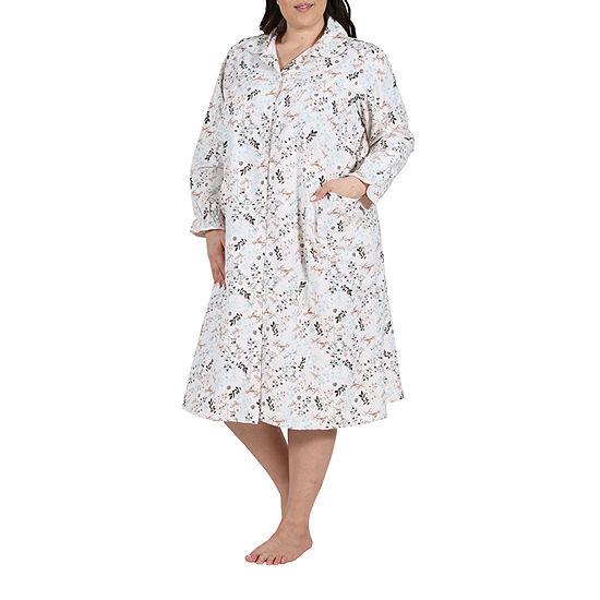 La Cera Womens Flannel Bed Jacket Long Sleeve