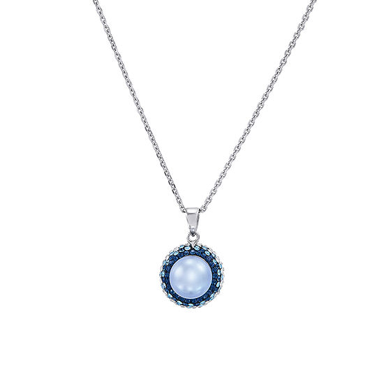 Womens Dyed White Cultured Freshwater Pearl Sterling Silver Pendant Necklace