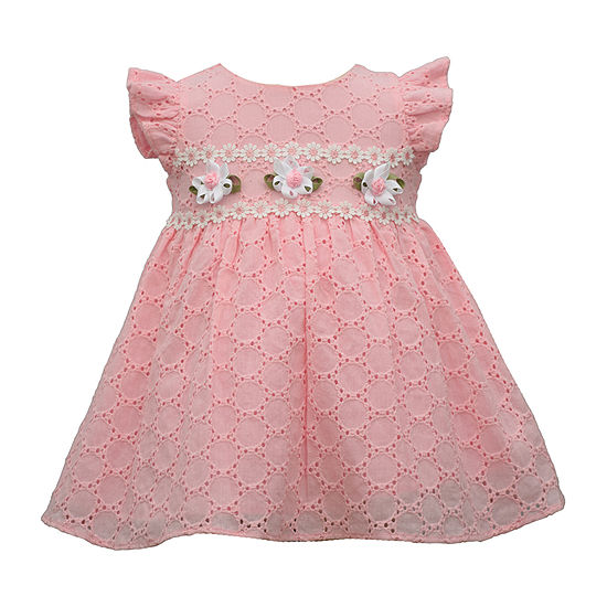 Bonnie Jean Eyelet Baby Girls Short Sleeve Floral A-Line Dress