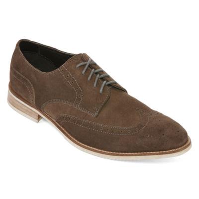 Claiborne® Claiborne Roger Mens Leather Wingtip Oxfords