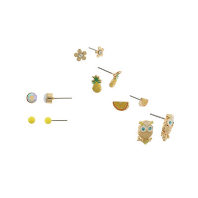 Capelli of New York Gold-Tone Tropical Mix 6-pr. Stud Earring Set