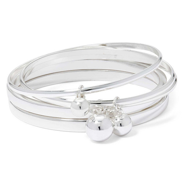 Liz Claiborne® Charm Silver-Tone 5-pc. Bangle Set