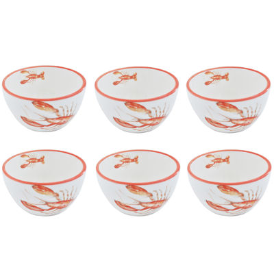 Abbiamo Tutto Lobster Set of 6 Ceramic Chowder/Dipping Bowls