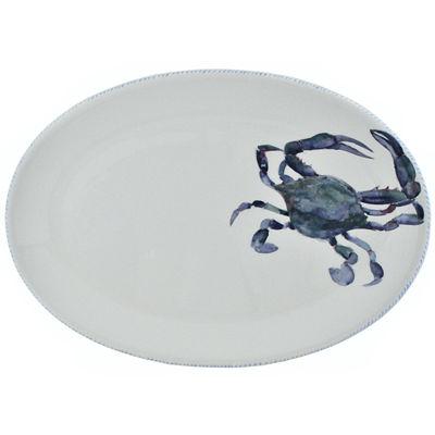 Abbiamo Tutto Blue Crab Oval Ceramic Serving Platter