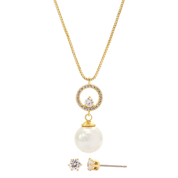 Sparkle Allure Sparkle Allure Womens 2-pc. Clear Brass Jewelry Set tgGIh59JbK
