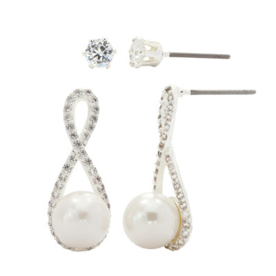 Sparkle Allure Clear Simulated Pearl Silver Tone 2-pc. Jewelry Set
