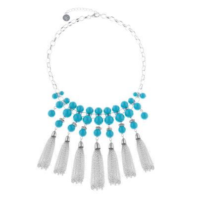 Liz Claiborne Womens Blue Statement Necklace