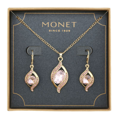 Monet Jewelry Womens Pink Gold Tone 2-pc. Jewelry Set