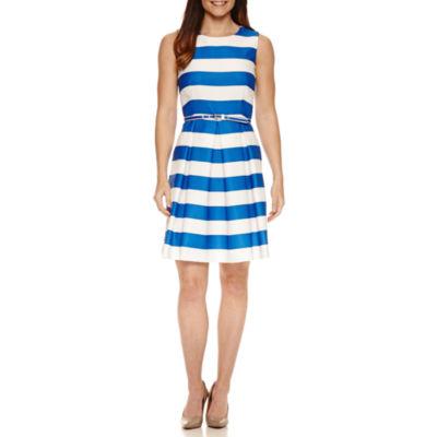 R & K Originals Sleeveless Stripe Fit & Flare Dress