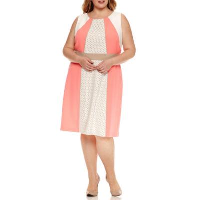 Studio 1 Sleeveless Lace Stripe Sheath Dress-Plus
