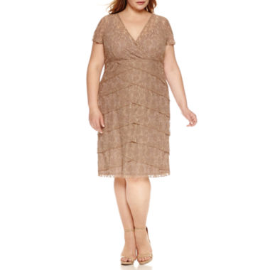 Scarlett Short Sleeve Tiered Lace Sheath Dress - Plus