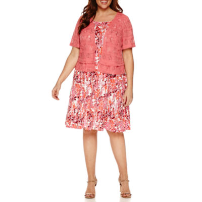 Perceptions Short Sleeve Lace Jacket Dress-Plus