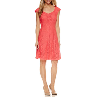 Liz Claiborne Short Sleeve Lace Fit & Flare Dress