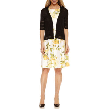 jcpenney.com | Liz Claiborne Elbow Sleeve Shrug with Sleeveless Floral Fit & Flare