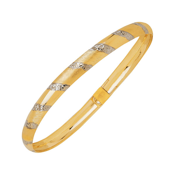 Two-Tone 10K Gold Diamond-Cut Bangle and Hoop Earring Jewlery Set