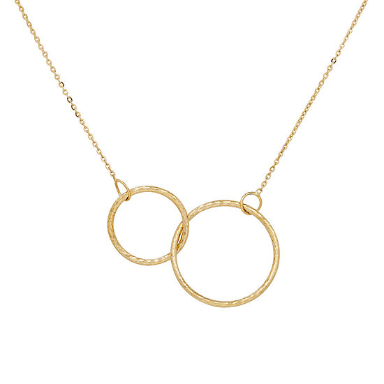 Interlocking Circles Womens 14K Gold Round Pendant Necklace