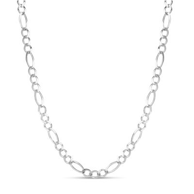 Made in Italy Sterling Silver 18 Inch Solid Figaro Chain Necklace