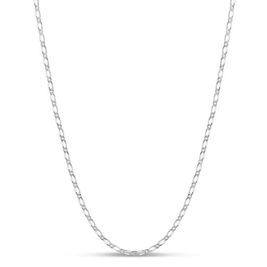 Made in Italy Sterling Silver 24 Inch Solid Figaro Chain Necklace