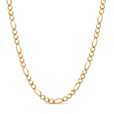 Made in Italy 18K Gold Over Silver 24 Inch Solid Figaro Chain Necklace