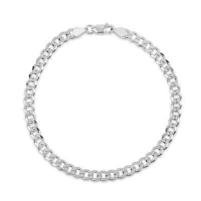 Made in Italy Sterling Silver 8 Inch Solid Curb Chain Bracelet