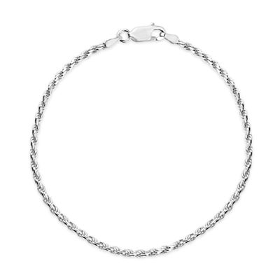 Made In Italy Womens 8 Inch Sterling Silver Chain Bracelet