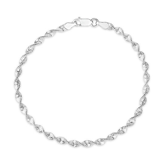 Made in Italy Sterling Silver 7 Inch Solid Herringbone Chain Bracelet