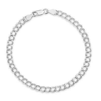 Made in Italy Sterling Silver 7.5 Inch Solid Link Chain Bracelet
