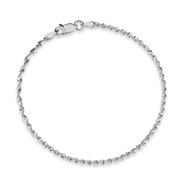 Made In Italy Womens 7 1/2 Inch Sterling Silver Chain Bracelet
