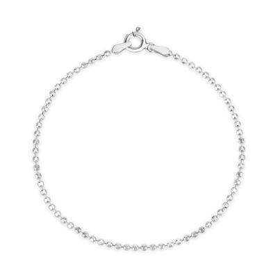 Made In Italy Womens 7 Inch Sterling Silver Chain Bracelet