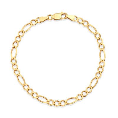 Made in Italy 14K Gold Over Silver 7.5 Inch Solid Figaro Chain Bracelet