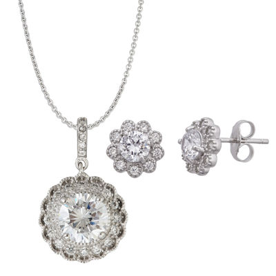 Womens 3-pc. 4 1/2 CT. T.W. Cubic Zirconia Sterling Silver Jewelry Set